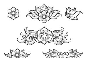 Vintage baroque engraving elements