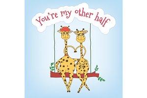 Couple of giraffes on a swing