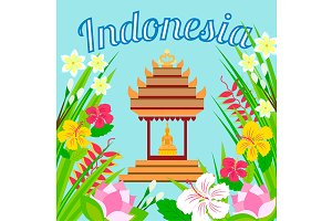 Indonesian pagoda and flowers