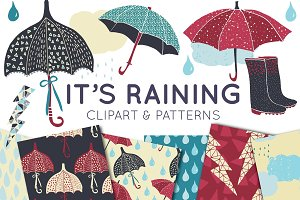 Raining Clipart & Seamless Patterns