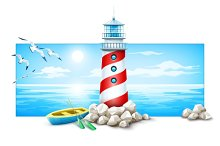 Lighthouse and boat at stones island. Sea sunset with sun. Flying seagull birds. Clouds on sky. Marine landscape view. Ocean skyline vector illustration