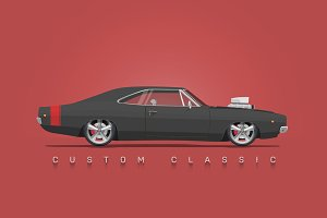 Custom Classic Mopar Illustration.