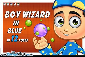 Boy Wizard In Blue - In 12 Poses