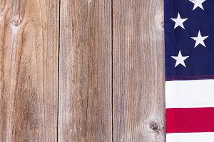 USA Independence Border on Wood