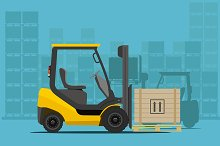 Forklift in the Warehouse