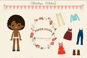 Paper doll vector dress up game