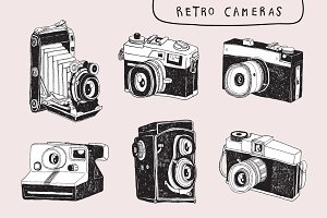6 Retro Camera Clip Art Drawing