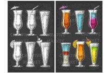 Alcohol cocktail set.
