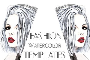 Watercolor fashion templates