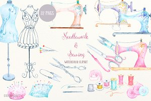 Watercolor Clipart Needlework Sewing