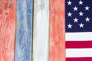 American flag and painted boards
