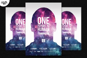 ONE FUTURISTIC HUMAN Flyer Template