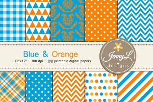 Blue And Orange Digital Paper