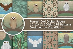 Woodland Owl Digital Paper Patterns