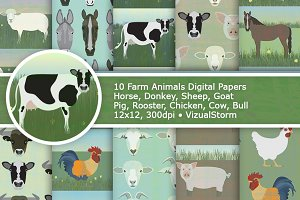 Farm Animal Digital Paper Patterns