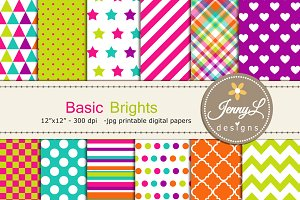 Basic Brights Digital Papers