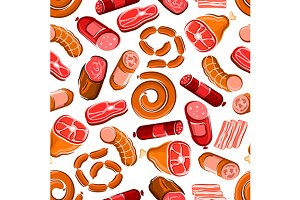 Seamless meat and sausages pattern