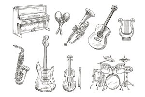 Musical instruments sketches set