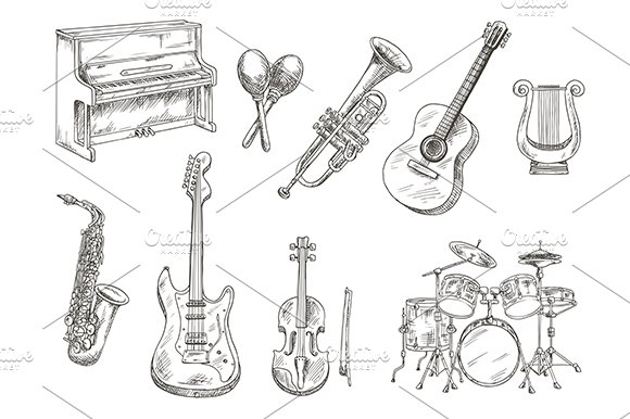 Musical instruments sketches set  Graphics  Creative Market