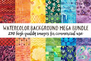 Watercolor Pattern Background Bundle