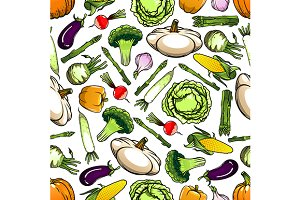 Seamless pattern of veggies