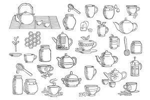 Tea and beverages hand drawn objects