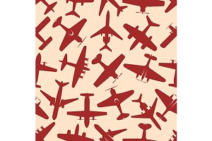 Military airplanes seamless pattern