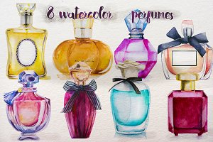 set of watercolor perfumes