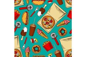 Fast food retro seamless pattern