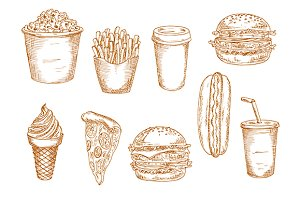 Fast food and desserts sketches