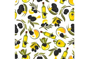 Healthful olive oil seamless pattern