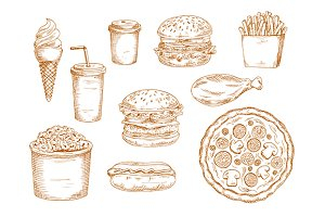 Sketches of fast food and drinks