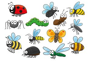 Friendly smiling cartoon insects