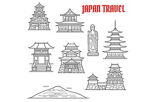 Japan travel landmarks thin icons