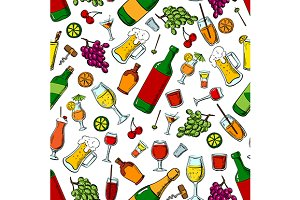 Drinks seamless pattern