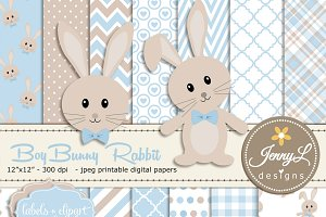 Boy Bunny Rabbit Digital Paper