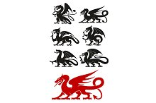 Medieval heraldic dragons