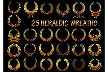 Heraldic golden laurel wreaths icons