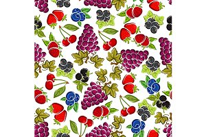Berry fruits seamless pattern