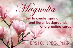 Blooming Magnolia. (Floral set.)
