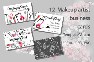 Set of Makeup artist business card.