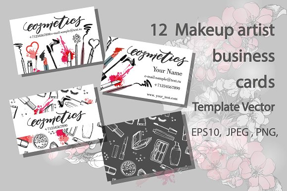 Set of makeup artist business card card templates creative market set of makeup artist business card cards cheaphphosting