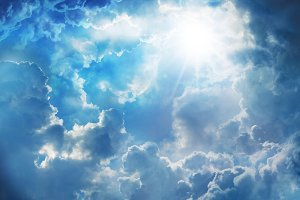 sky with clouds and sunlight.