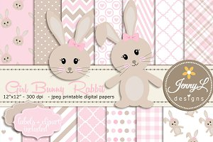 Girl Bunny Rabbit Digital Paper