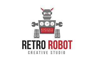 Retro Robot Logo Template