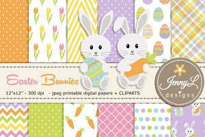 Easter Bunny Rabbit Digital Papers