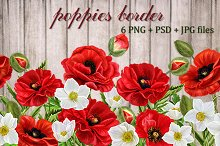 Pattern, border red poppies