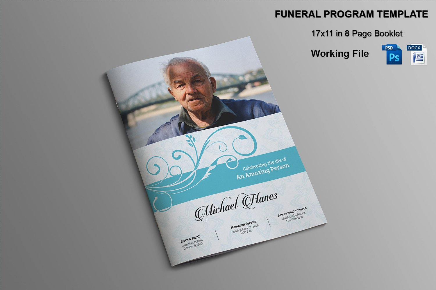 memorial pamphlets free templates - 8 page funeral booklet template v482 brochure templates creative market