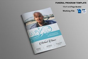 8 Page Funeral Booklet Template-V482