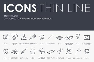 Stomatology thinline icons